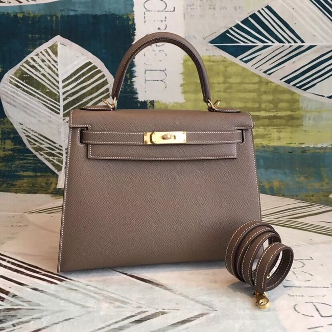Hermes original Kelly Epsom Leather KL32 dark grey